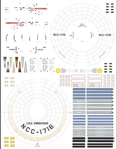 Endeavour ncc-1716 1//1000 Polar Lights Star Trek TOS enterprise model kit decals
