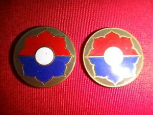 Set-Of-2-US-Army-9th-INFANTRY-DIVISION-Metal-Emblems-With-Flat-Backs