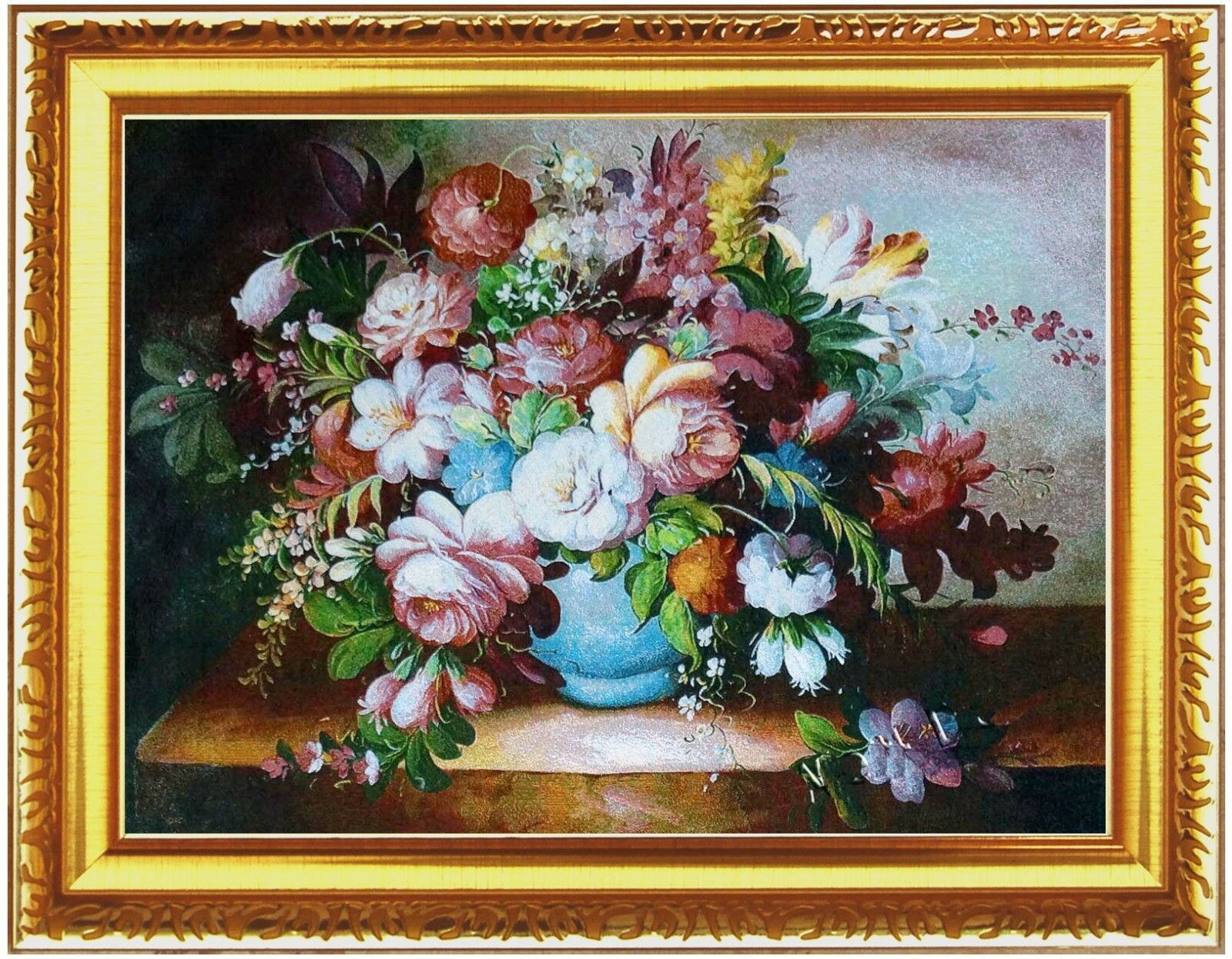 Jacquard Woven Wall Hanging Framed Tapestry Peonies Blau Pot Select 5 Styles
