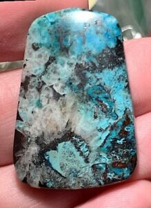 GREAT BLUE and WHITE GEM see video!! CHRYSOCOLLA in WHITE NEEDLES OF BARITE!