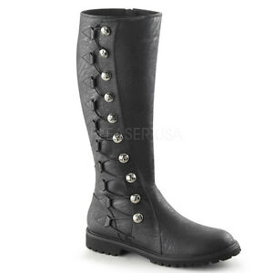 Black-Mens-Medieval-Knight-Pirate-Steampunk-Nobility-Costume-Boots-size-8-9-10