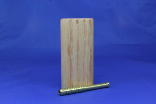 """4"""" Classic Ash Dugout One Hitter Slide Top With Solid Brass Bat"""