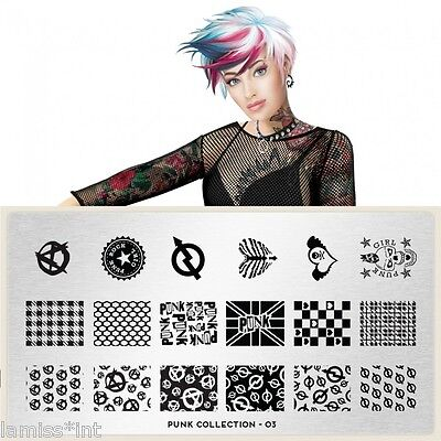 MoYou London PUNK 3 Collection Stamping Schablone, Schrift Wabe Herz