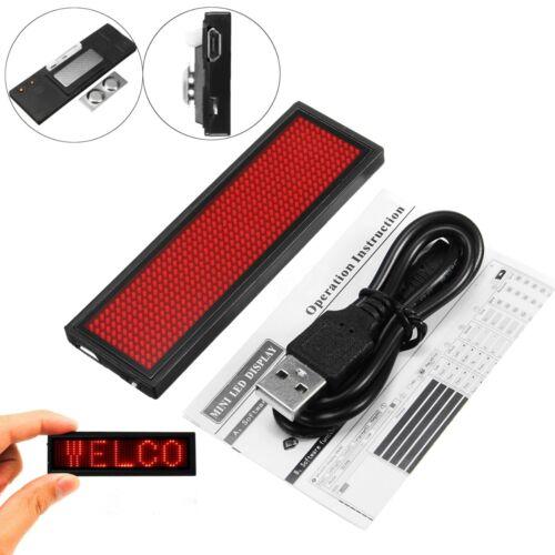 LED Mini Programmable Digital Display Scrolling Message Tag Name Badge Sign USB