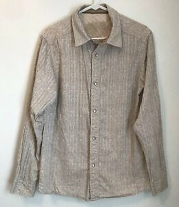 Prana-Womens-M-Top-Pearl-Snap-Shirt-Ivory-Tan-Paisley-Print-Long-Sleeve