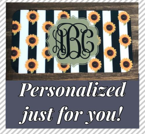 Monogram Stripe License Plate Personalized Sunflower Custom Initials Car Tag New