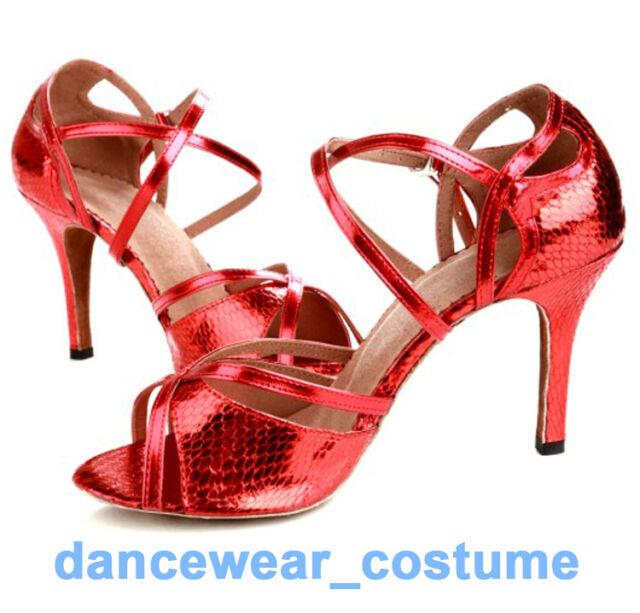 Adult Women's Ballroom Latin Tango Dance Salsa Shoes 8.5cm Heeled Sandals US 5-9