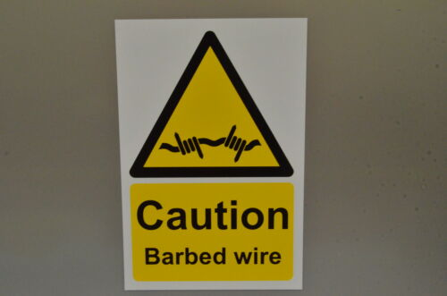 Caution Barbed Wire Hazard Security Sign With//Without Holes Or Sticker 300x200