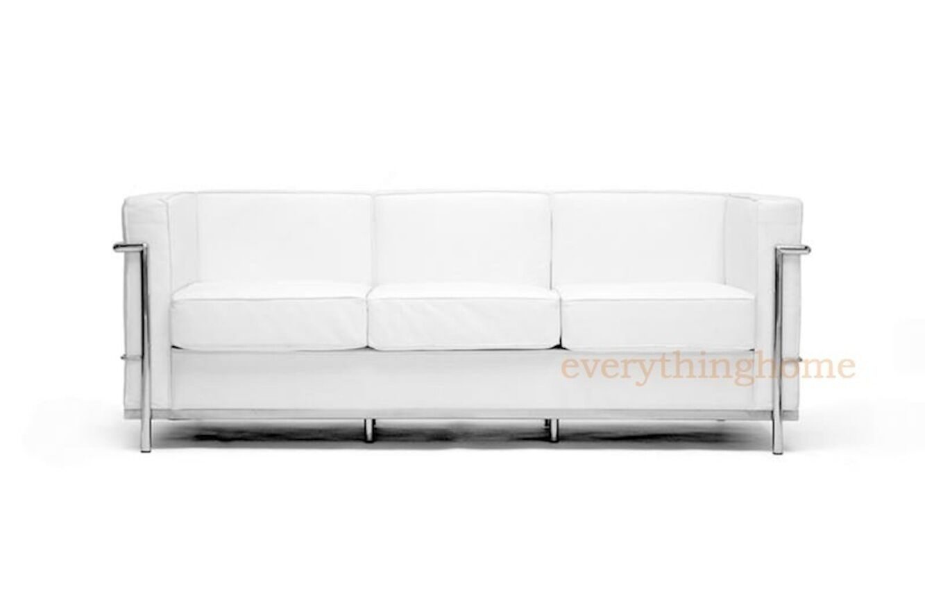 Prime Le Corbusier Style Mid Century Lc2 3 Seat Sofa White Leather Stainless Steel Cjindustries Chair Design For Home Cjindustriesco