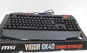 Msi Vigor Gk40 Gaming Keyboard Black Kb Msi Gk40 Water Resistant Spill Proof Ebay