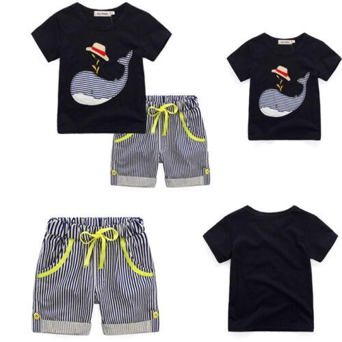 Boys Kids Short Sleeve Animal Printed T-Shirt Tops Striped Short Pants 2PCs Sets