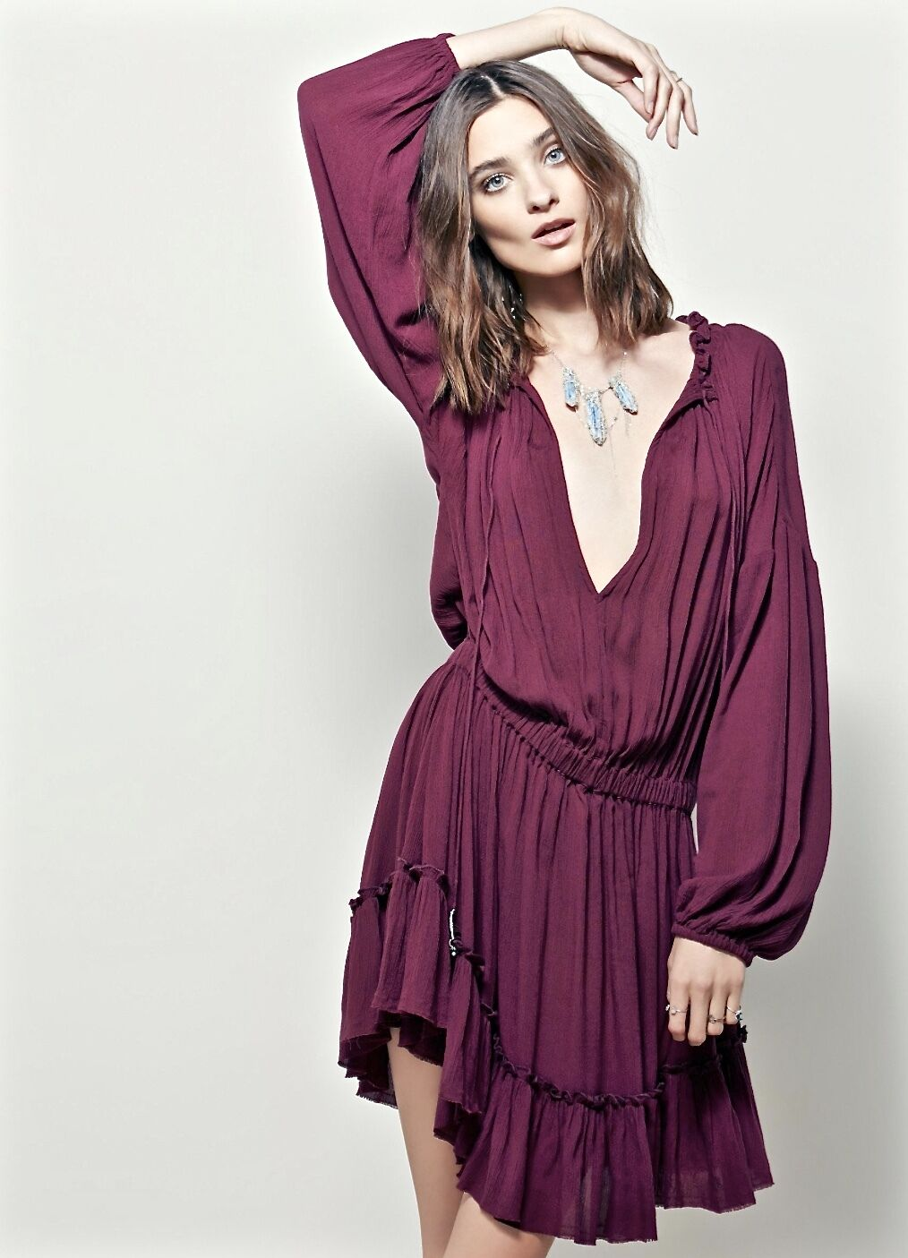 Free People Endless Summer purple Gauzy Elastic Waist Ruffle Hem Tunic Dress XS