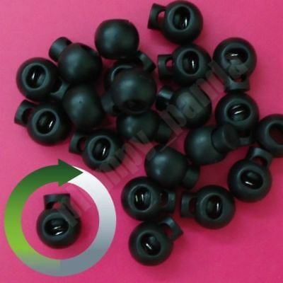 "Hole = 3//16/"" Black Buttom 2 Holes Round Cordlock Cord Lock Toggle Barrel Beads"