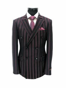 PAMONI-Burgundy-Black-Bold-Stripe-Double-Breasted-Slim-Fit-Suit