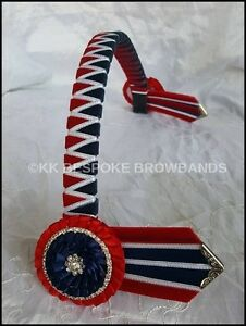 Red-White-and-Navy-Blue-Show-Velvet-Browband-pony-cob-full-size-3-4-034-OR-1-034-wide