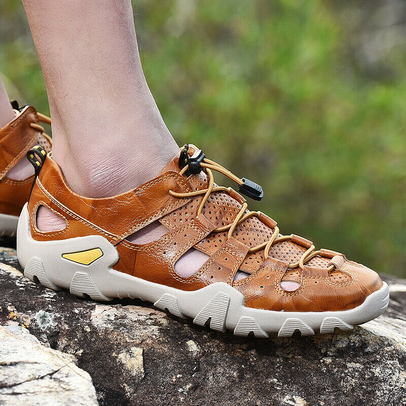 Mens Leather Close Toe Hollow Out Sports Casual Sandals Loafers Lace Up shoes