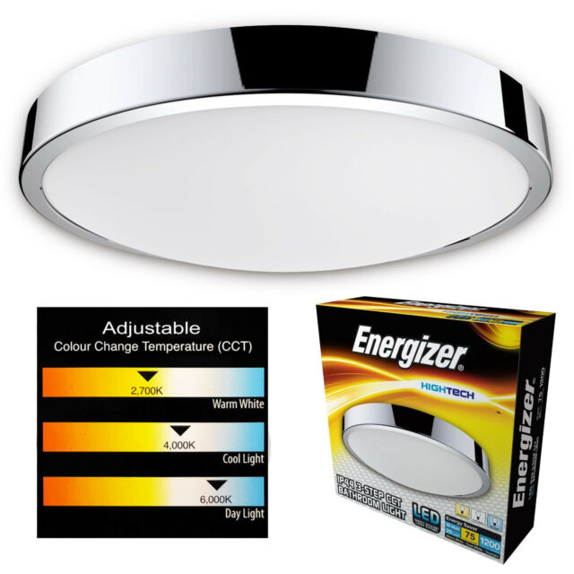 Energizer LED bathroom ceiling IP44 colour temperature changing light fitting