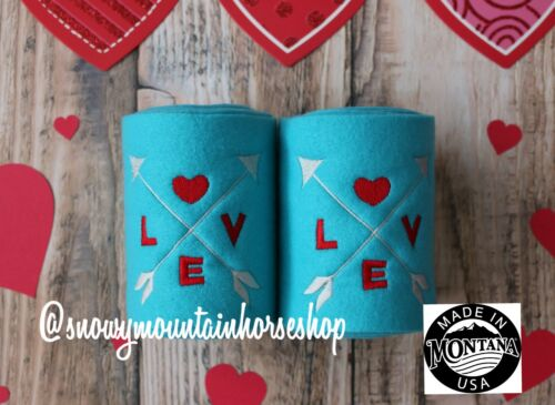 Details about  /Valentine/'s Day Themed  Horse Polo Wraps Set of 2 Embroidered Love Arrows