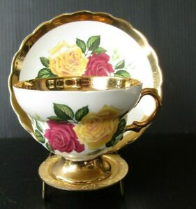 Rosina-Heavy-Gold-Roses-Teacup-and-Saucer-Vintage-Yellow-Red-Rose-Tea-Cup-Set