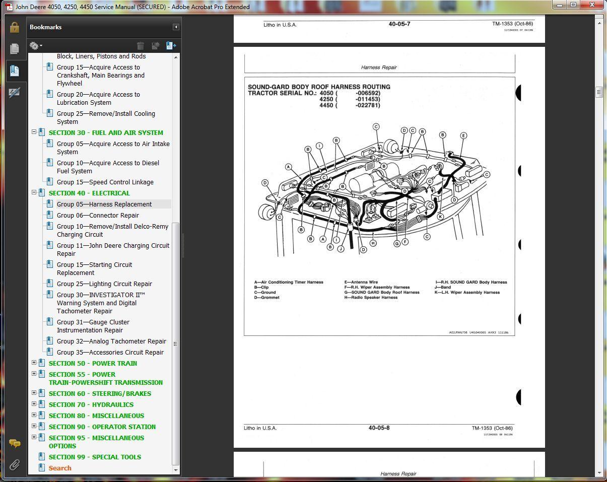 WRG-9367] John Deere 4250 Wiring Harness on