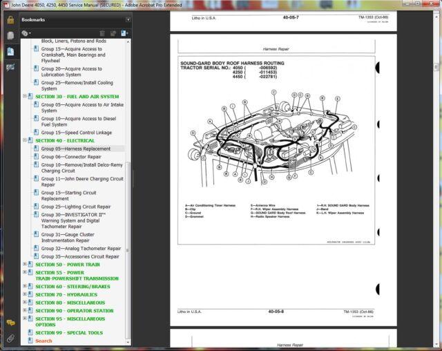 tm1353 john deere 4050 4250 4450 tractor technical service manual repair  book cd for sale online | ebay