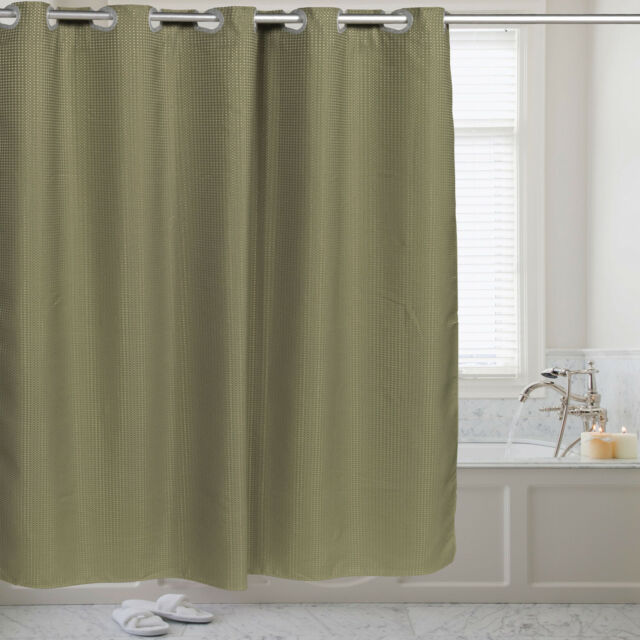 Fabric Shower Curtain Waffle Weave Hookless With Snap Off Liner 70