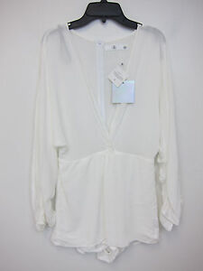 57477303a6 Missguided Cheese Cloth Plunge Playsuit Romper - US 2 - White - NWT ...