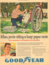 1959 vintage AD GOODYEAR Bicycle Tires,  Art Boy Ready for paper Route 052217