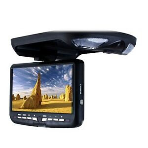 Black-9-034-LCD-FlipDown-Roof-Mount-In-Car-Overhead-Monitor-IR-DVD-Player