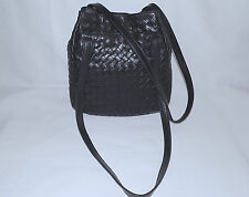 BOTTEGA VENETA -100% Intrecciato Woven Leather Shoulder Bag-Small-Black-Great !!