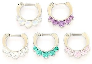 New-Surgical-Steel-Five-Gem-Nose-Septum-ring-Clicker-16g-Choice-of-Colour