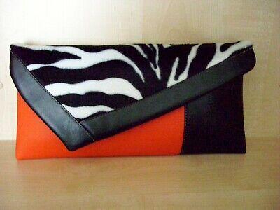 Zebra print black /& red faux leather /& velboa asymmetrical clutch bag BN