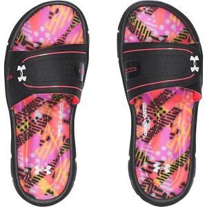 f16d6e0fa8798 Under Armour Ignite Geo Mix VIII Slide Sandals Pink Black Kids Youth ...
