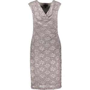 Connected-Apparel-Size-18-Grey-Sequin-Lace-Lined-Cowl-Neck-Shift-Sheath-Dress