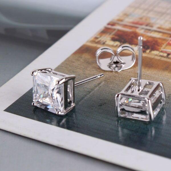 HOT LADY 18k white gold filled lovely white sapphire stud earring