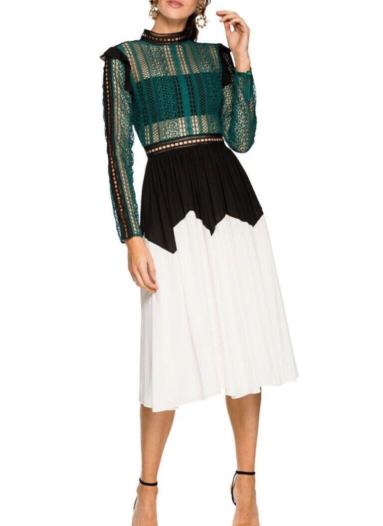 Self Portrait Stripe Paneled Long Sleeve Lace Midi Dress Size 6