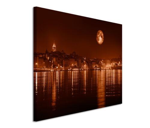 Leinwandbild 120x80cm auf Keilrahmen abends,Mond,Istanbul,Küste,Brücke,nachts