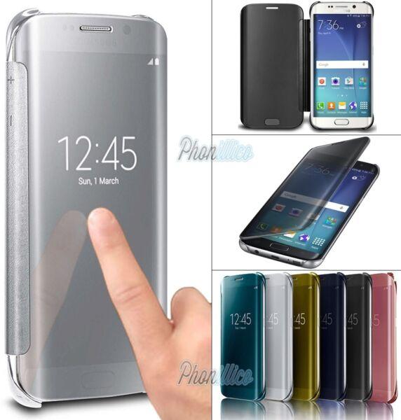 Coque Housse Etui Flip Clear View Transparente Pour Samsung Galaxy Au Choix Haute Qualité