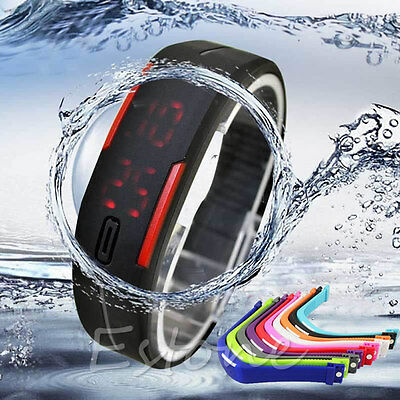 Fashion Mens Women Rubber Red LED Watch Date Sports Bracelet Digital Wrist Watch