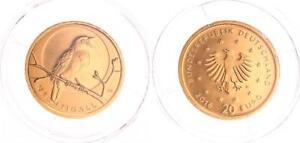 Deutschland 20 Euro Gold 2016 D Nachtigall in Münzkapsel 1/8 Unze Stempelglanz