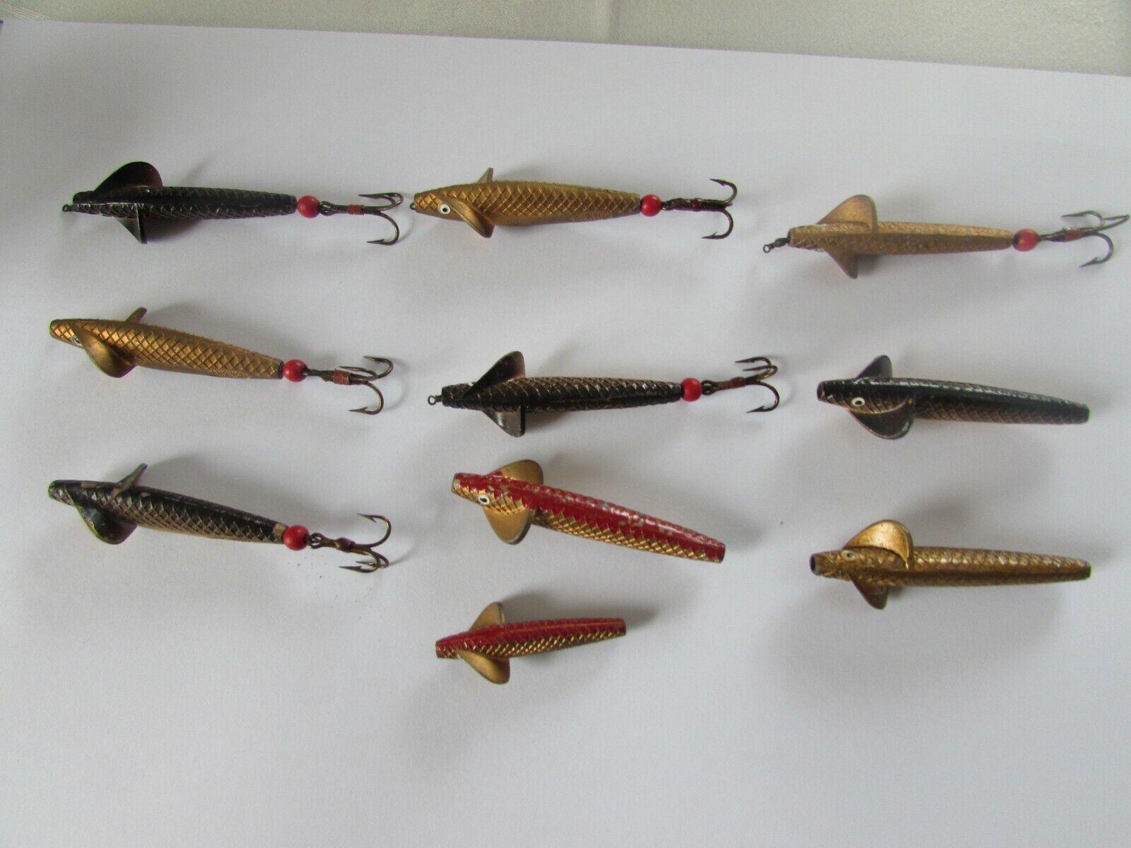 Aleación de oro 10 Excelente Vintage Hardy Sprat Devon Spey Señuelos De Pesca Minnow