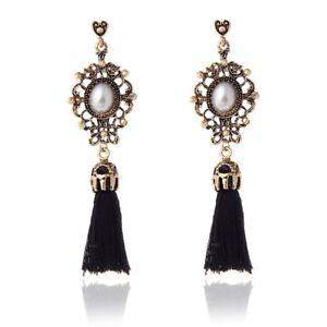 Vintage Dorado Cristal Negro Borla Pendientes Damas Regalo Perlas de Imitación BKP9
