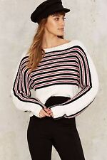 NEW! Nasty Gal Lady Licorice Ribbed Stripped Sweater XS Extra Small new w/ tags!