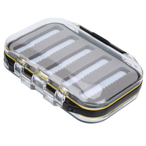 Double Side Waterproof Fly Fishing Box Foam Pad Lures Holder Case A-Jag Shape B