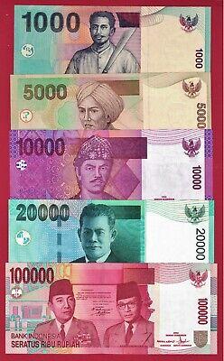 P-144a 10K INDONESIA UNC BANKNOTES: 1K P-142a /& 20K 5K P-141a P-143a