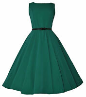 Vintage Retro 40's 50's Audrey Green Mid Calf Rockabilly Swing Dress New 8 - 20