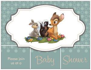 Image Is Loading 20 Bambi Thumper Flower Disney Baby Shower Invitations