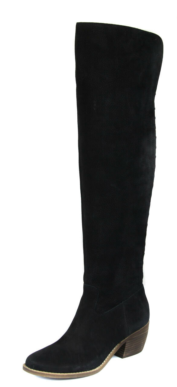 Lucky Brand Women's Black Khlonn Leather Over The Knee Boot shoes Ret  239 New