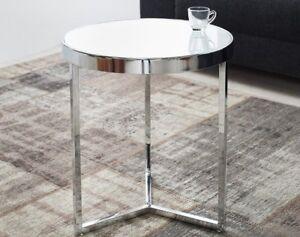 Dettagli su Tavolo di Vetro Tavolino Rotondo Bianco Moderno Lille 50cm  Cromo da Salotto