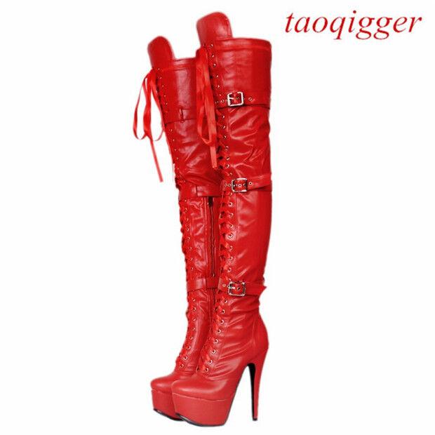US4-12.5 women biker over knee thigh high boots high stiletto stiletto stiletto heels platform &78 72f1f5